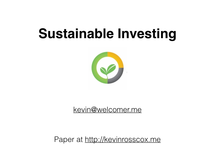 Sustainable Investing with Interest Free Money 1.001